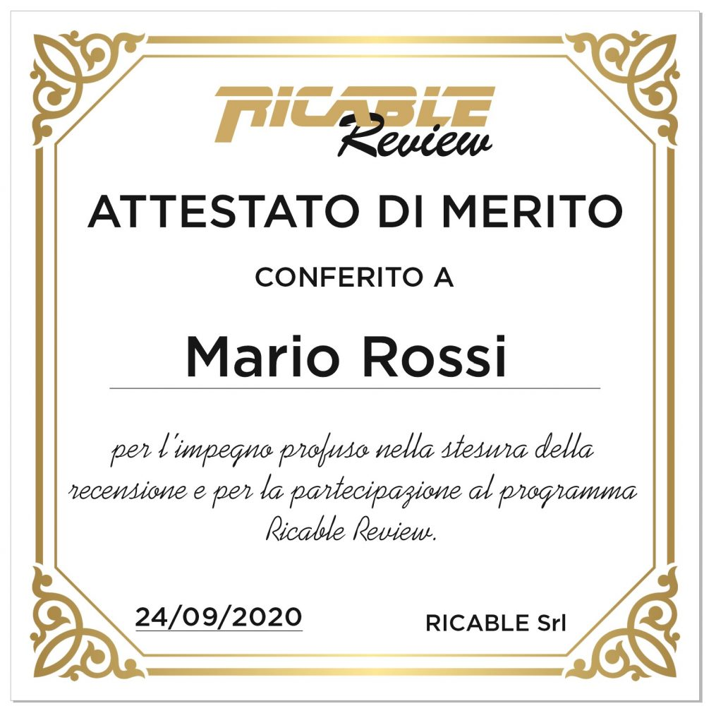 Attestato Ricable Review