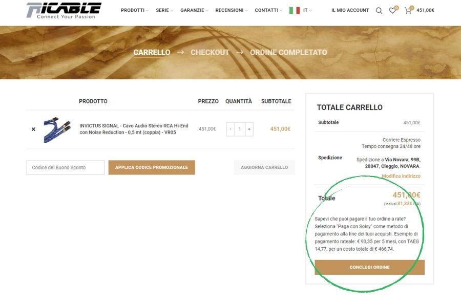 Soisy Finanziamento Cavi Hi-Fi Ricable Carrello